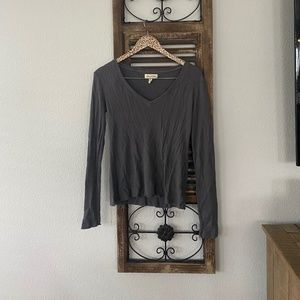 Cloth & Stone Thermal V-Neck Long Sleeve Top Gray